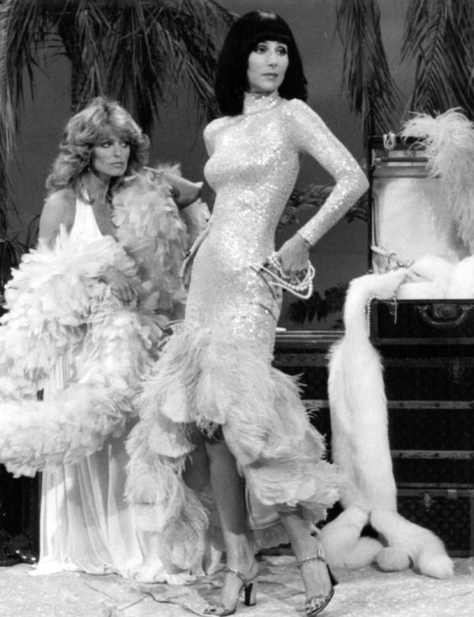 Farrah Fawcett and Cher from the television program The Sonny and Cher Show.