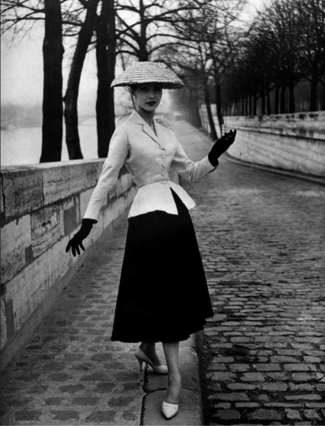 'The Bar Suit' 1947, worn by Dior's house model, Renee Breton 1947