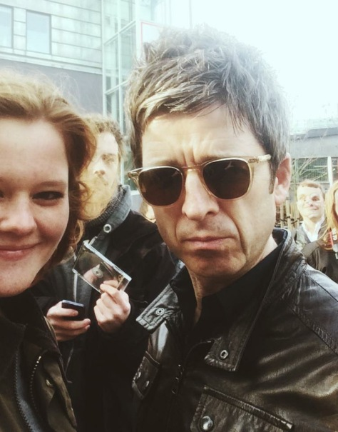 Italian fan Claudia Rasmussen taking a selfie with Noel. She also took the wonderful feature picture of Noel at the gig with his guitar. <3